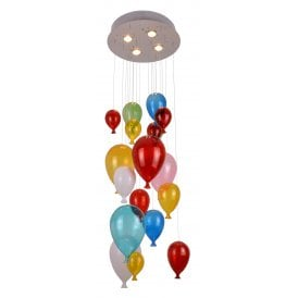 AZ2164 Balloon 4 Light Ceiling Pendant with Multi Coloured Shades