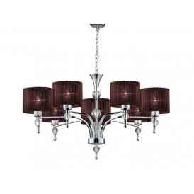 AZ2902 'Impress 7' 7 Light Ceiling Pendant in Polished Chrome Finish with Brown Fabric Shades
