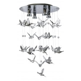 'Birds' 4 Light Ceiling Pendant in a Mirror Finish with Bird Decoration