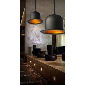 Capello Single Light Ceiling Pendant in Black and Gold Finish