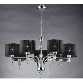 'Impress 7' 7 Light Ceiling Pendant in Polished Chrome Finish with Black Fabric Shades