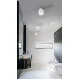 Lir LED Bathroom Ceiling Light in Polished Chrome Finish with White Glass Shade