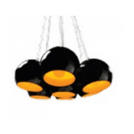 'Noa 7' 7 Light Ceiling Pendant in Black and Gold Finish
