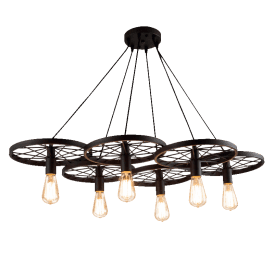 'Ranch 6' 6 Light Ceiling Pendant in Black Finish