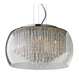 'Rego 40' 5 Light Ceiling Pendant in Polished Chrome Finish