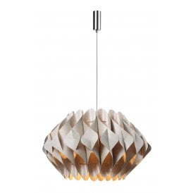 Ruben Single Light Large Ceiling Pendant in Polished Chrome Finish with Beige Shade
