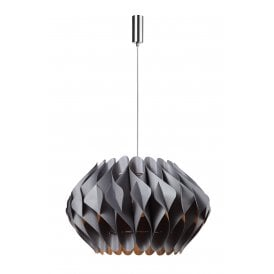 Ruben Single Light Large Ceiling Pendant in Polished Chrome Finish with Grey Shade