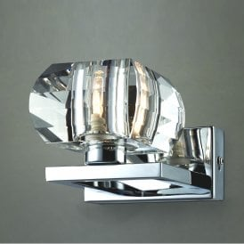 'Rubic 1 Wall' Single Light Wall Fitting in Polished Chrome Finish with Clear Glass Shade