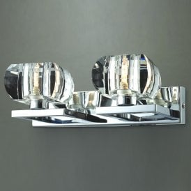 'Rubic 2 Wall' Twin 2 Light Wall Light in Polished Chrome Finish with Clear Glass Shades