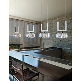 'Rubic 4A' Linear 4 Light Ceiling Pendant in Polished Chrome with Clear Glass Shades