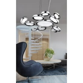 Satellite 11 Light Ceiling Pendant in Polished Chrome Finish with White Glass Diffusers