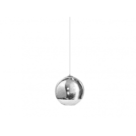'Silver Ball 18' Single Light Ceiling Pendant in Polished Chrome and Glass Finish