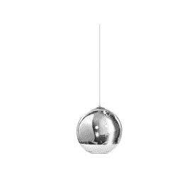 'Silver Ball 25' Single Light Ceiling Pendant in Polished Chrome and Glass Finish