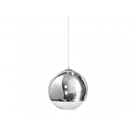 'Silver Ball 40' Single Light Ceiling Pendant in Polished Chrome and Glass Finish