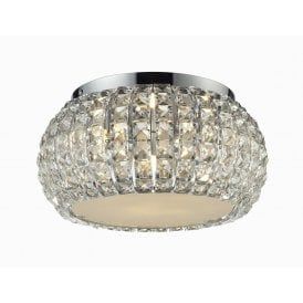 'Sophia 3 Top' 3 Light Flush Ceiling Fitting in Polished Chrome Finish with Crystal Shade