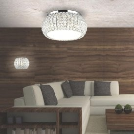 'Sophia 5 Top' 5 Light Flush Ceiling Fitting in Polished Chrome Finish with Crystal Shade