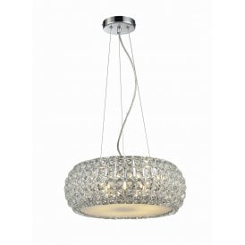 'Sophia 6' 6 Light Ceiling Pendant in Polished Chrome Finish with Crystal Shade