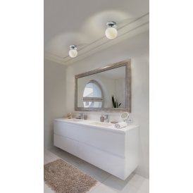 Tao 6W LED IP44 Flush Ceiling Fitting in Polished Chrome Finish with White Opal Shade