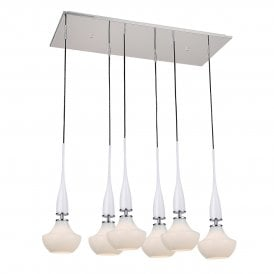 'Tasos 6' 6 light Ceiling Pendant in White Finish with Polished Chrome Detail