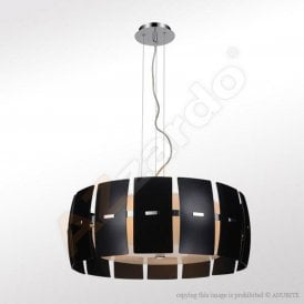 'Taurus 2' 4 Light Ceiling Pendant in Black Finish with Frosted Glass Shade