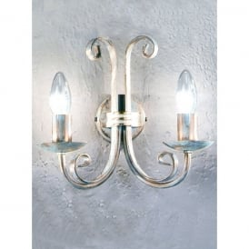 Babylon 2 Light Wall Fitting in White Brushed Gold