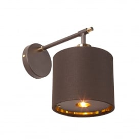 Balance Single Light Wall Fitting In Brown And Polished Brass Finish