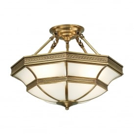 Balfour 4 Light Semi Flush Ceiling Fitting In Antique Brass Finish With Frosted Glass