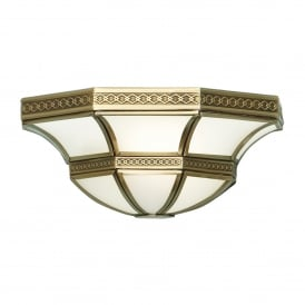 Balfour Single Light Wall Fitting In Antique Brass Finish With Frosted Glass