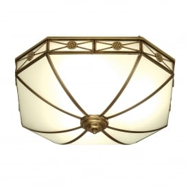 Bannerman 4 Light Flush Ceiling Fitting In Antique Brass Finish With Frosted Glass Shade