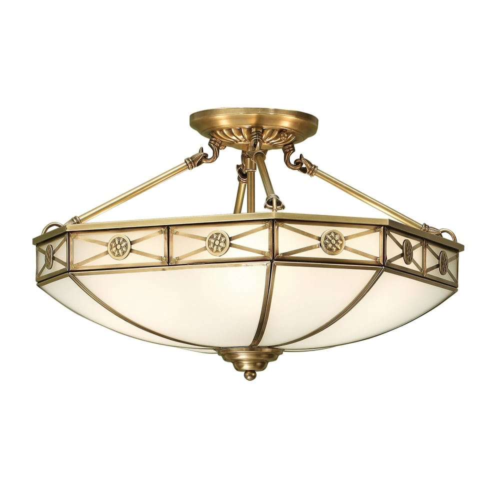 Brass Finish Ceiling Lights : Interiors bannerman light semi flush ceiling