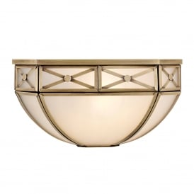 Bannerman Single Light Wall Fitting In Antique Brass Finish With Frosted Glass Shade