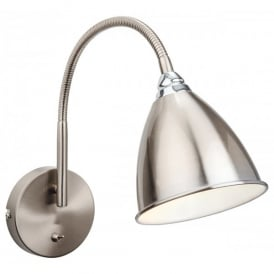 Bari Single Light Switched Wall Lamp in Brushed Steel Finish with Chrome