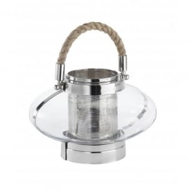 Baskin Large Clear Glass Candle Lantern In Polished Chrome Finish With Rope Detail