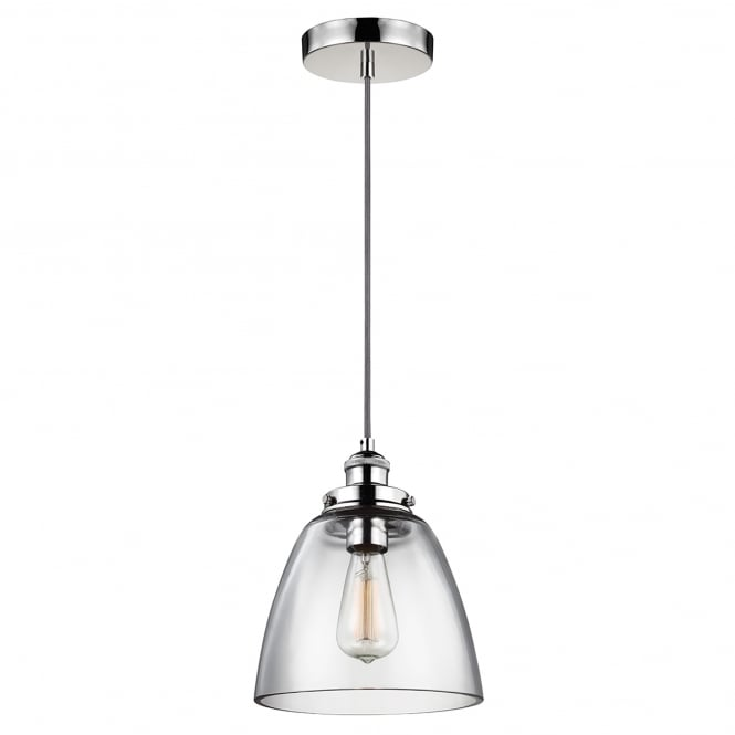 Elstead Lighting Baskin Single Light Ceiling Pendant in Polished Nickel Finish Complete with Clear Glass Shade