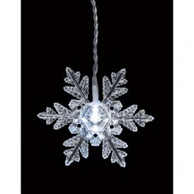 Battery Operated Multi Action White LED Snowflake Curtain