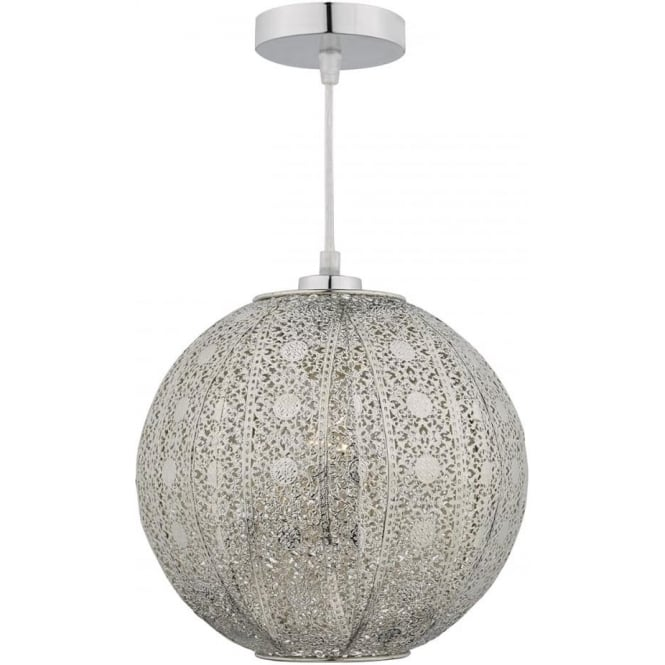 Dar Lighting Bazar Easy Fit Single Light Ceiling Pendant in Antique Silver Finish