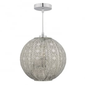 Bazar Easy Fit Single Light Ceiling Pendant in Antique Silver Finish