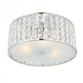 Belfont 3 Light Flush Bathroom Ceiling Fitting In Polished Chrome And Clear Crystal Finish