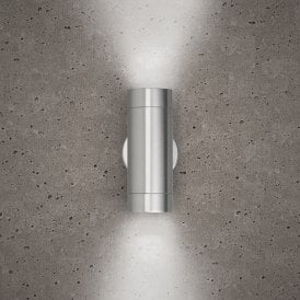 Astro 2 Light Outdoor Wall Fitting in Stainless Steel Finish