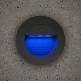 Astro Outdoor Round Guide Light In Slate Grey Finish With Blue LED Light