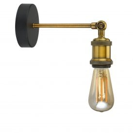 Retro Single Light Wall Fitting In Antique Brass Finish