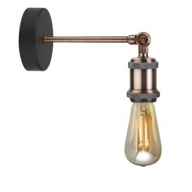 Retro Single Light Wall Fitting In Antique Bronze Finish