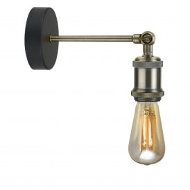 Retro Single Light Wall Fitting In Antique Satin Nickel Finish