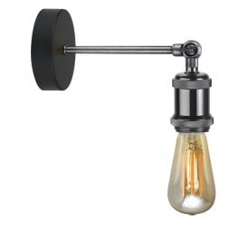 Retro Single Light Wall Fitting In Gunmetal Black Finish