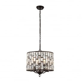 Belle 5 Light Ceiling Pendant in Dark Bronze and Clear Crystal Glass