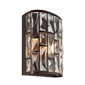 Belle Single Light Wall Fitting in Dark Bronze and Clear Crystal Glass