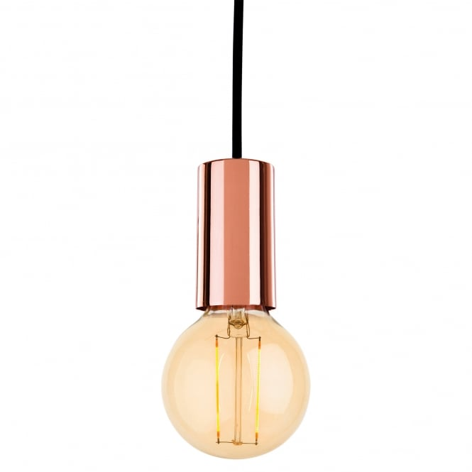 Firstlight Berkeley Single Light Ceiling Pendant In Copper Finish With LED Vintage Filament Lamp