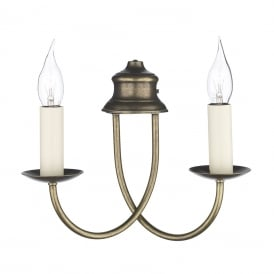 Bermuda 2 Light Wall Fitting in Aged Brass Finish