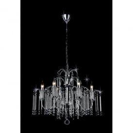 Bette 6 Light Crystal Chandelier with Polished Chrome Frame