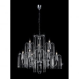Bette 9 Light Crystal Chandelier with Polished Chrome Frame